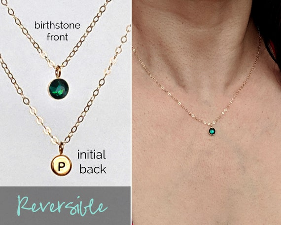 Personalized Birthstone Necklace March Birthstone gift girlfriend gift new mom gift custom initial necklace April May birthstone jewelry