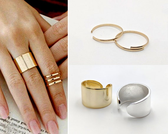 Silver Gold Midi Rings Plain 8 Mid Knuckle Simple Thin Band Small Medium Large