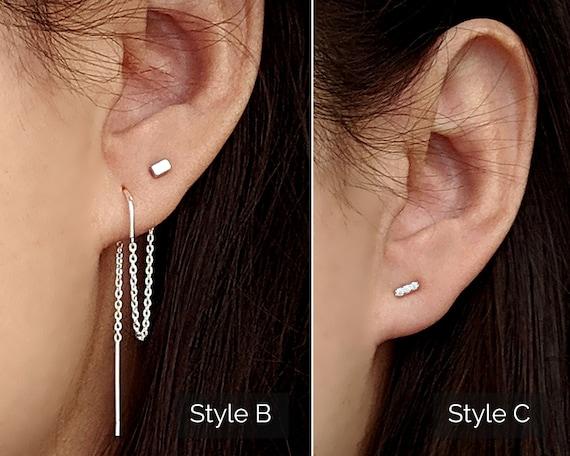 Beaded T bar threader pull through earring single threader earring beaded bar thread earring beaded chain earring silver bar threader