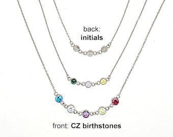 Mom necklace birthstones initials necklace Personalized mothers necklace birthstone necklace Custom family necklace Grandmother gift for mom