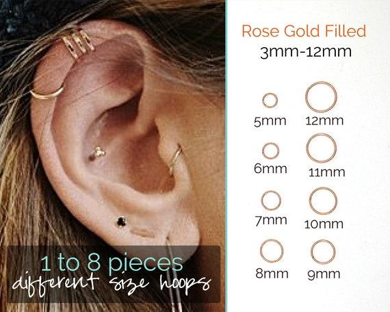Nose Rings 20 Gauge Nose Ring Hoop Earrings Rose Gold Nose Hoop 20g Cartilage Earring Septum Ring Septum Clicker Lip Rings Helix Earring Rook Earrings Nose Piercing Jewelry Surgical Steel