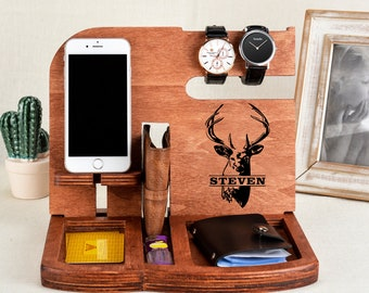 Personalized Men GiftMens Wood Valet BoxMens Birthday Giftbirthday Gift Mens Standgift For Himgift MenMens Valetgift