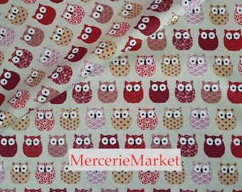 fabric 1/2 meter owls + 100% cotton + width 160 cm > + red burgundy + merceriemarket