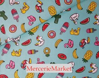 fabric 1/2 meter buoys + 100% cotton + width 160 cm + turquoise/multicolor merceriemarket