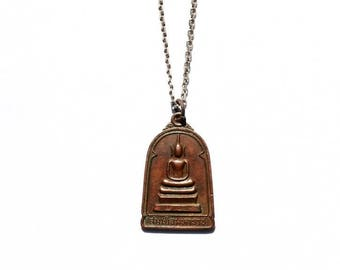 Buddha Necklace No.1 Gifts for Him, Gifts for Her, Brass, Men's Necklace, Women's Necklace, Meditating Buddha, Vintage Style