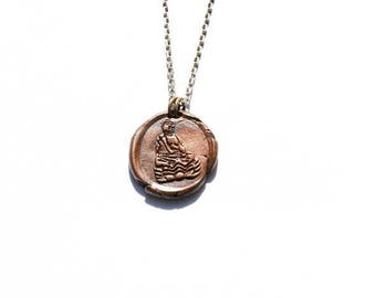 Buddha Wax Seal Necklace, Men's Jewelry, Women's Jewelry, Copper Jewelry, Men's Necklaces, Women's Necklaces Vintage Style Fitness Spiritual