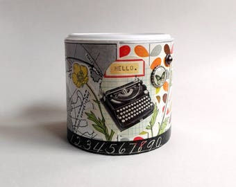 "Tin Decoupage ""Hello"" · Napkin Technology · Decopatch · Retro· Writing machine · Flowers· Brad· Map· Storage· Order"