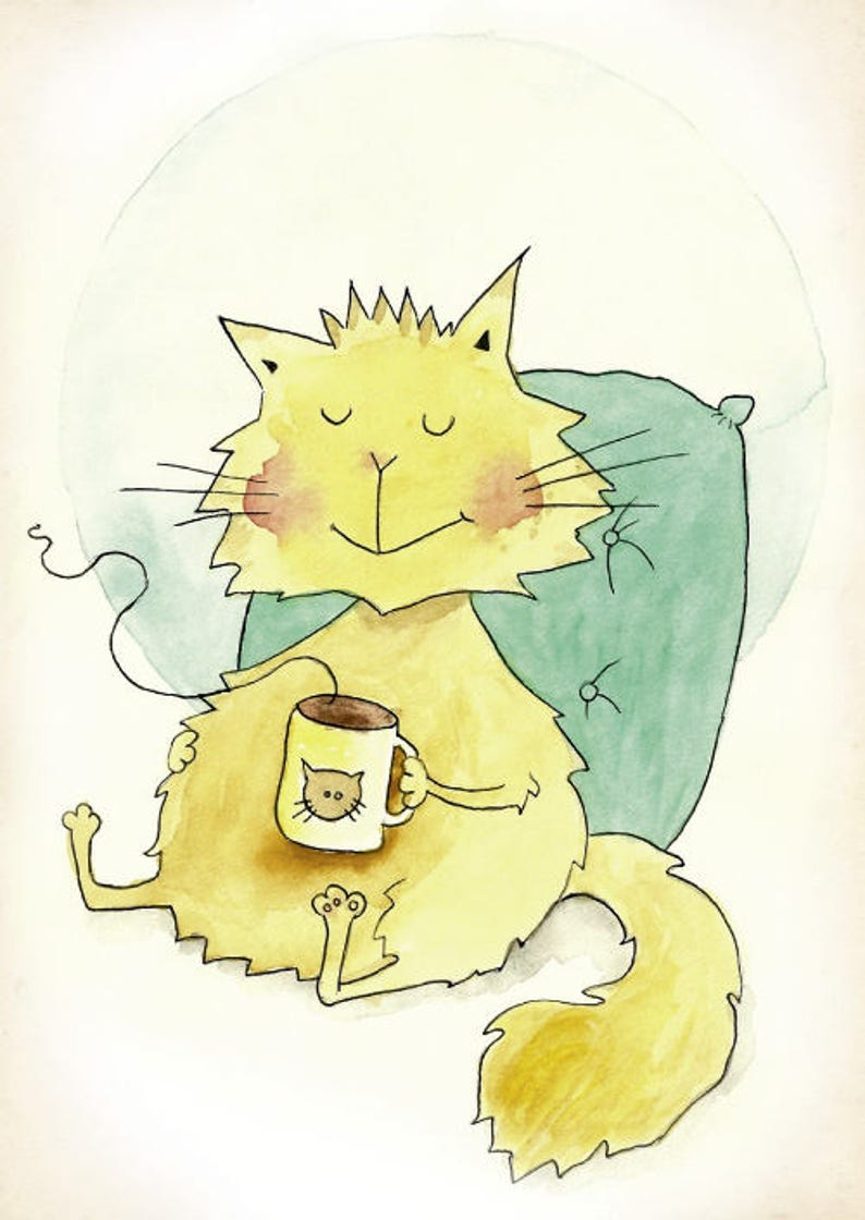 Postcard Relaxicat \u00b7 Postcard Cat \u00b7 Relax Case Coffee Cute Autumn Watercolour Watercolor Yellow Thanksgiving Cozy Yummy