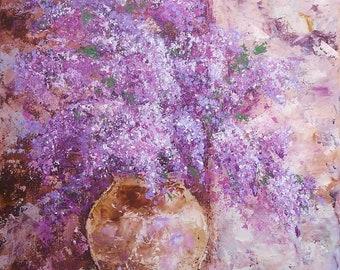 LILAC SPLENDOUR, original still life painting of flowers, 50x70cm