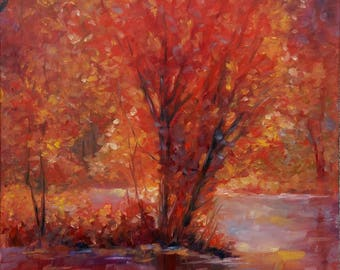 AUTUMN GLORY, 50X70CM, autumn trees by the lake oil landscape painting
