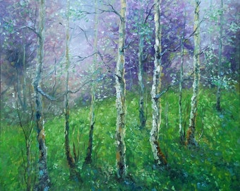 SPRING POEM, 60X60CM, birches trees spring landscape