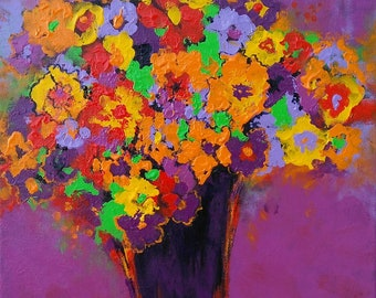 SPRING MADNESS, original still life painting of flowers in bold colors