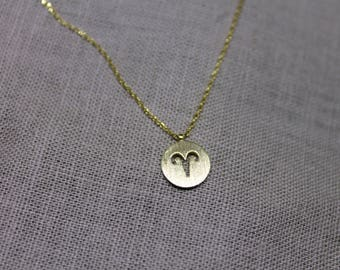 Aries Zodiac Sign Dainty Necklace