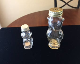 Vintage Glass Candy Containers set of two Owl/Dog