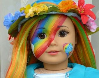 "OOAK Rainbow Dash Little Pony Heart Princess Custom Fantasy American Girl 18"" Doll"