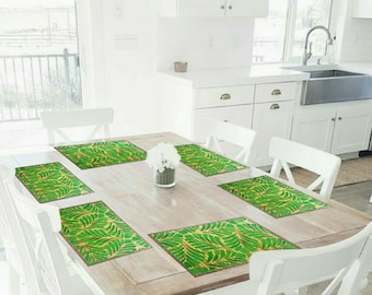 Set of 8 placemats, bamboo, handpainted, hand painted, for all occasions, table, dining room, breakfast bar, Accsesorios