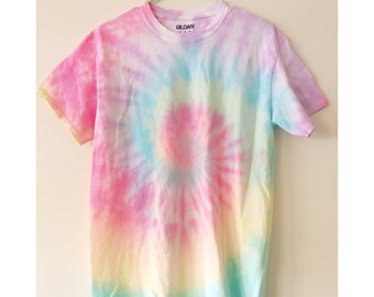 0ac79c922fb Bright Pastel Watercolor Taffy Spiral Tie-Dye T-Shirt Pastel Tie-Dye Short  Sleeve Tee Bright Saltwater Taffy-Inspired Spiral Tie-Dye T-Shirt