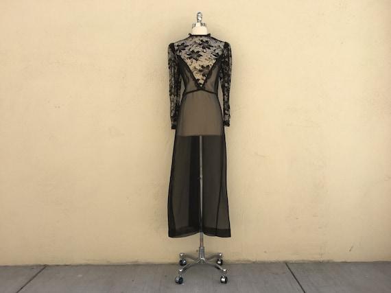 70s VINTAGE sheer black lace bodice maxi dress hig