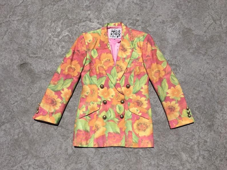1990/'s VINTAGE Bettina Spitz designer blazer pastel pink tangerine lime green floral print tailored linen jacket pockets small medium S M 38
