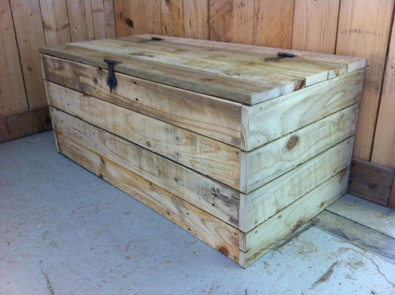 Handmade Wooden Toy Box Chest Rustic Style Made With Reclaimed Pallet Wood Industrial Style Ironwork