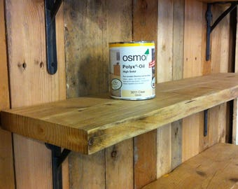 Scaffold Board Rustic Wooden Shelves (30cm to 110cm) with OSMO Finish