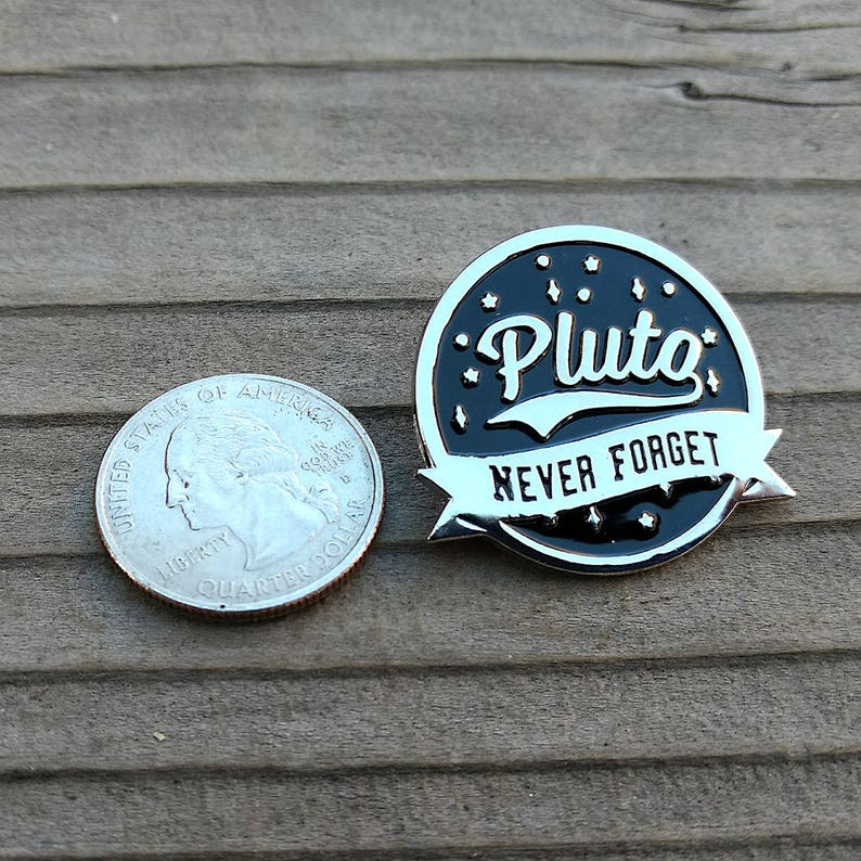 Astronomy enamel pin Pluto never forget science lapel pin funny hat pin