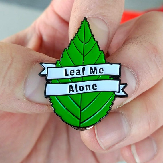 Introvert Enamel Pin - Leaf Me Alone pin - Socially Awkward Lapel Pin - hat  pin - enamel pins - lapel pins - hat pins - funny pin - brooch