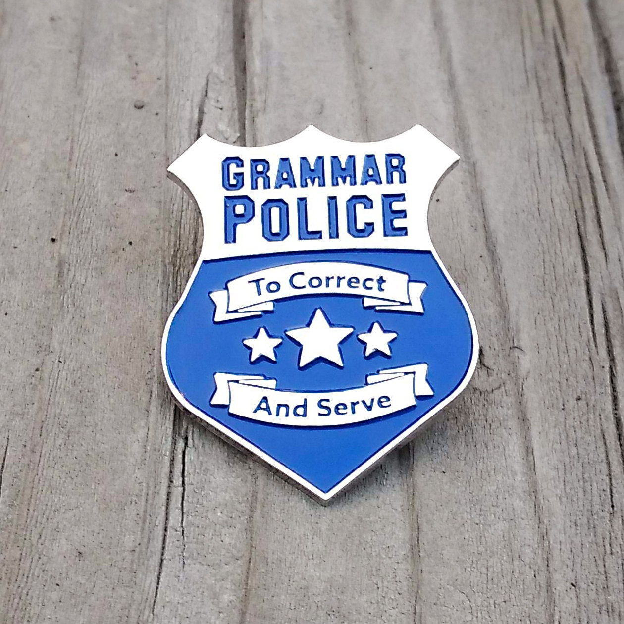 grammar police pin badge - enamel pin - funny pin - lapel pin - hat pin -  brooch - pin - brooches - enamel pins - lapel pins - pins