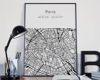 Paris poster - Map (A4)
