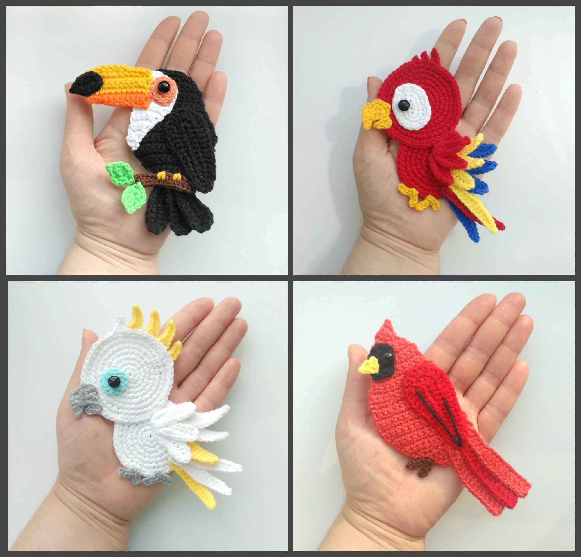 Pattern Tropical Birds Applique Crochet Patterns Pdf Toucan Etsy