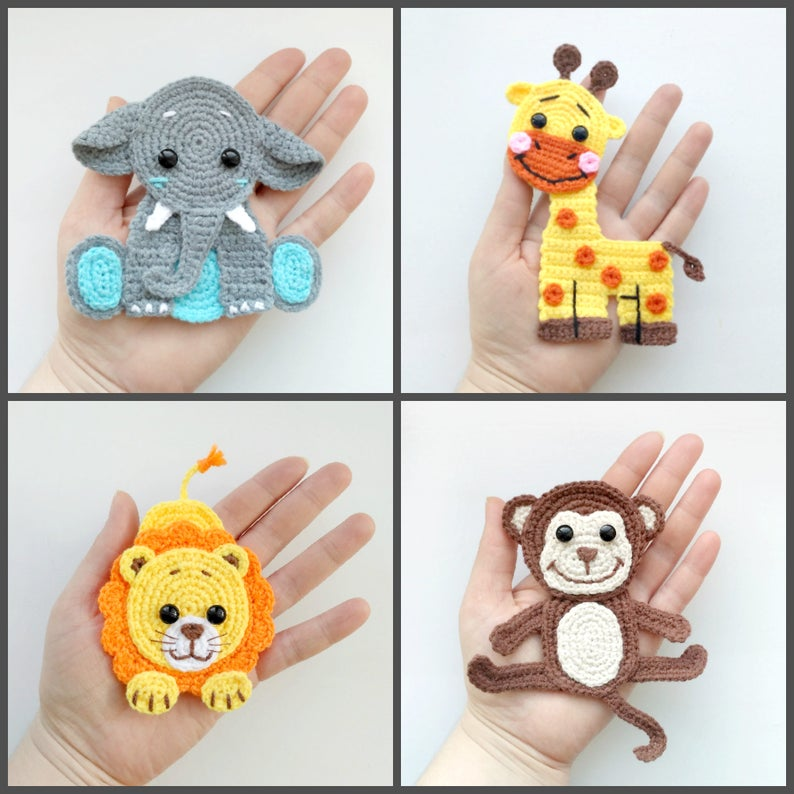 Pattern Jungle Animal Applique Crochet Patterns Pdf Elephant Etsy