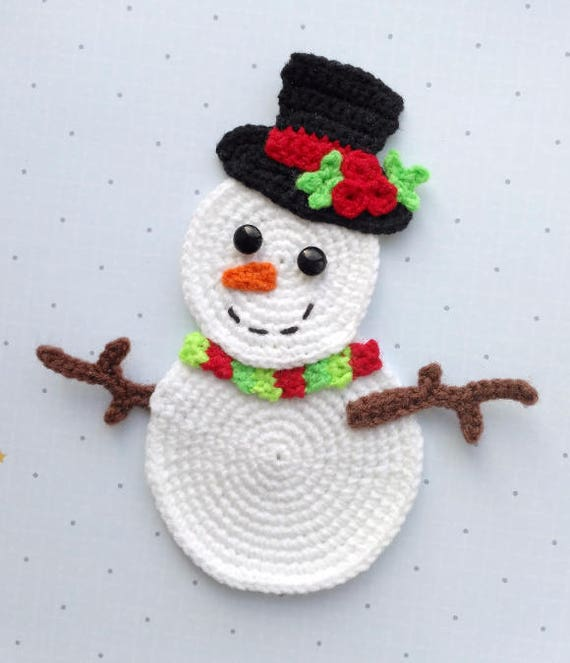 PATTERN Snowman Applique Crochet Pattern PDF Christmas   Etsy