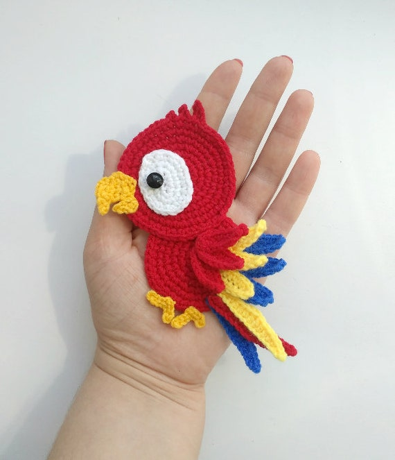 Pattern Parrot Applique Crochet Pattern Pdf Tropical Bird Etsy