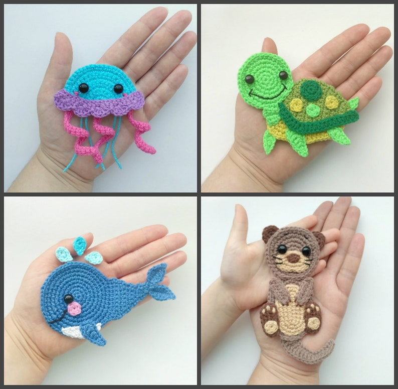 Pattern Sea Creatures Applique Crochet Patterns Pdf Otter Etsy