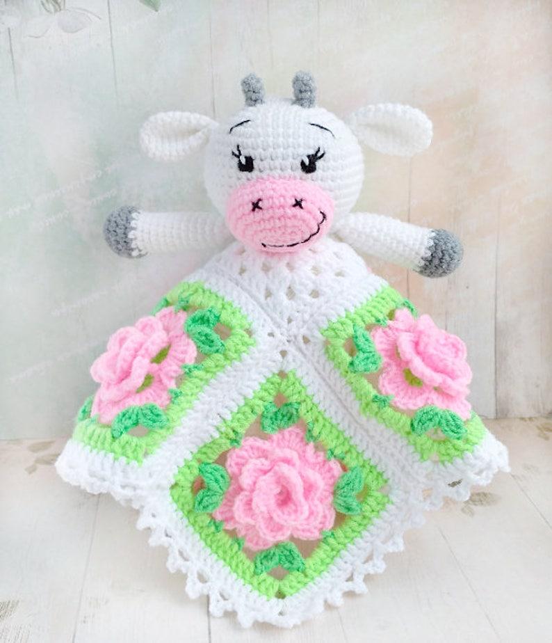 Pattern Crochet Security Blanket Crochet Lovey Pattern Cow Etsy