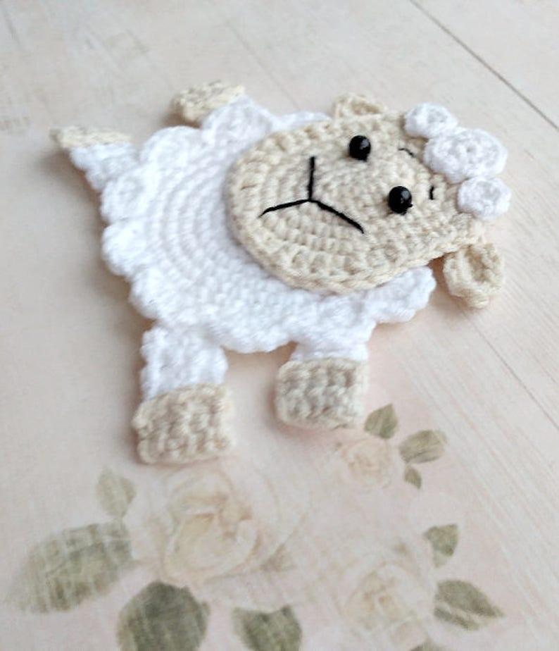 65bbc3f0c247db PATTERN Sheep Applique Crochet Pattern PDF Crochet Lamb Farm