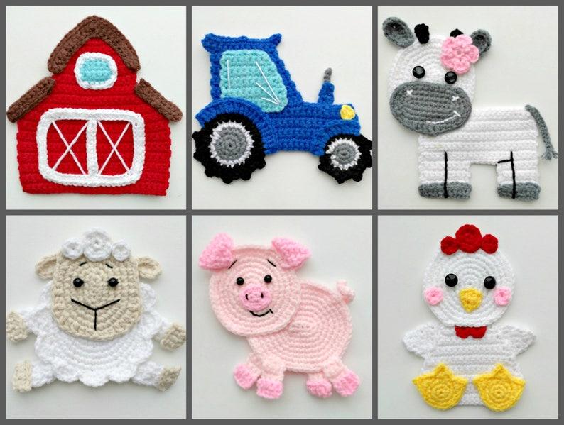 Pattern farm animal applique crochet patterns pdf barn tractor etsy