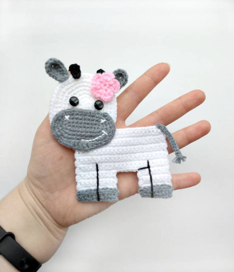 1ba3d79c30f3ae PATTERN Cow Applique Crochet Pattern PDF Farm Animal Pattern