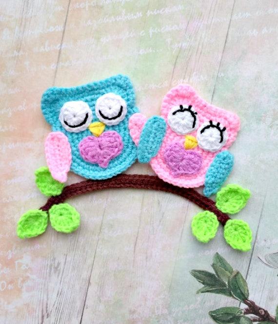 Pattern Loving Owls Applique Crochet Pattern Pdf Owl Crochet Etsy