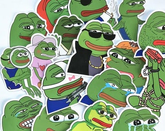 Pepe Frog Stickers Pack Vinyl (x34) - Pepe The Frog Decals - Feels Good Man - Sad Pepe
