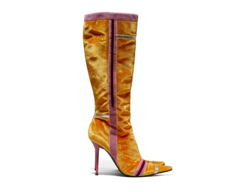 b255449a8c6 Mustard yellow velvet stiletto boots
