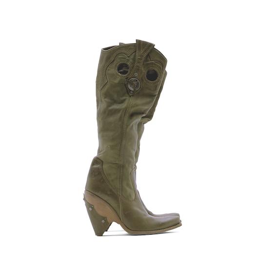 Dior khaki green leather gaucho boots