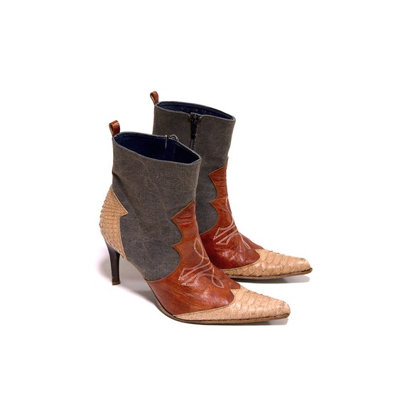 Snakeprint denim and leather western ankle boots