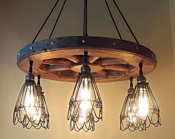Industrial pendant light wood chandelier