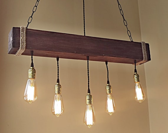 Wood beam Edison chandelier