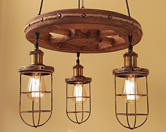 Handmade rustic wood wagon wheel chandelier