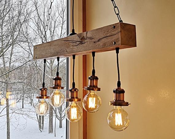 Handmade reclamed wood beam chandelier