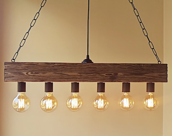 Indoor ceiling beam wood lamp