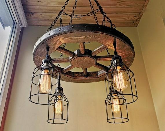 Rustic Lighting - Wagon Wheel Chandelier Industrial Pendant Light Wood Chandelier Rustic Light Fixture Dining room Ceiling Light Farmhouse