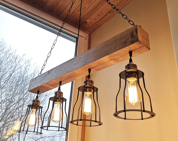 Rustic lighting - wood chandelier